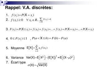 Rappel: V.A. discrètes: