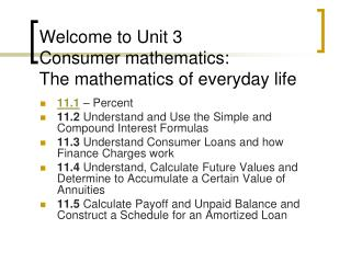 Welcome to Unit 3 Consumer mathematics:   The mathematics of everyday life