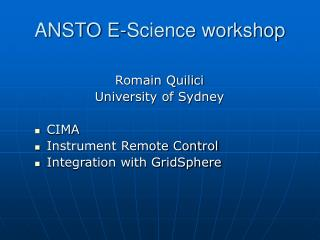 ANSTO E-Science workshop
