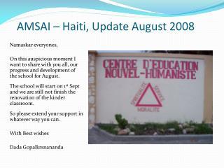 AMSAI – Haiti, Update August 2008