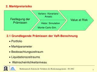 2.1 Grundlegende Prämissen der VaR-Berechnung     Portfolio     Marktparameter