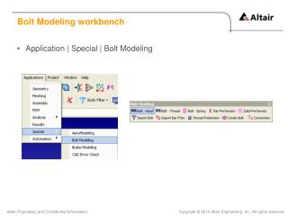 Bolt Modeling workbench