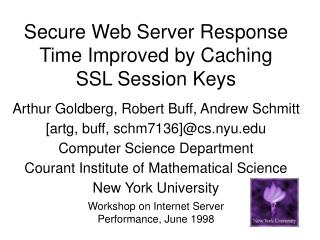 Secure Web Server Response Time Improved by Caching SSLSession Keys