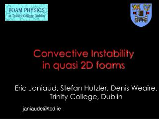 Convective Instability in quasi 2D foams