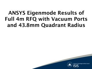 ANSYS Eigenmode Results of Full 4m RFQ with Vacuum Ports and 43.8mm Quadrant Radius