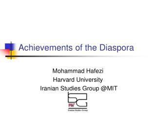 Achievements of the Diaspora