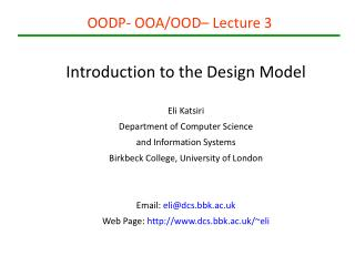OODP- OOA/OOD– Lecture 3