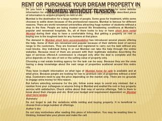 Rent or purchase your dream property in Mumbai without tensi