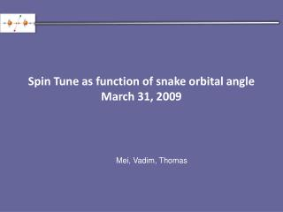 Spin Tune as function of snake orbital angle March 31, 2009