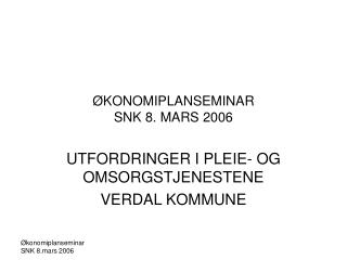 ØKONOMIPLANSEMINAR SNK 8. MARS 2006