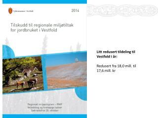 Litt redusert tildeling til  Vestfold i år: Redusert fra 18,0 mill. til 17,6 mill. kr