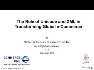 The Role of Unicode and XML in Transforming Global e-Commerce