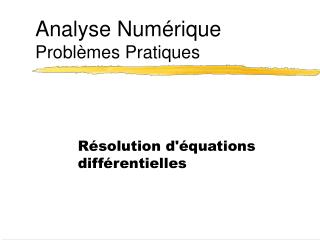 Analyse Num rique Probl mes Pratiques