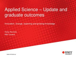 Applied Science – Update and graduate outcomes
