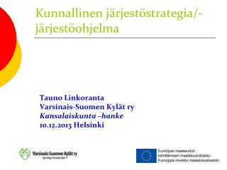 Kunnallinen järjestöstrategia/-järjestöohjelma