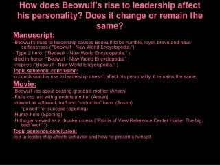 How does Beowulf's rise to leadership affect his personality? Does it change or remain the same?