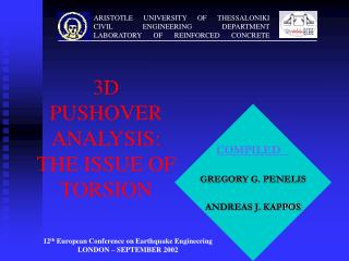 3D PUSHOVER ANALYSIS: THE ISSUE OF TORSION