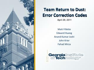Team Return to Dust: Error Correction Codes