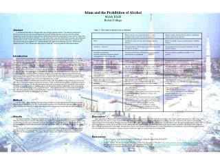 Islam and the Prohibition of Alcohol Mahdi Khalil Beloit College