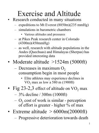 Exercise and Altitude