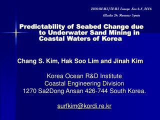 Predictability of Seabed Change due to Underwater Sand Mining in Coastal Waters of Korea