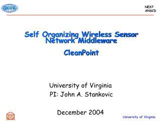 Self Organizing Wireless Sensor Network Middleware CleanPoint