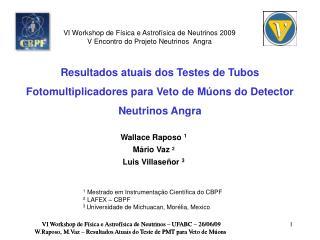 VI Workshop de Física e Astrofísica de Neutrinos – UFABC – 26/06/09
