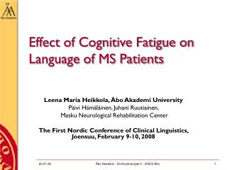Effect of Cognitive Fatigue on Language of MS Patients