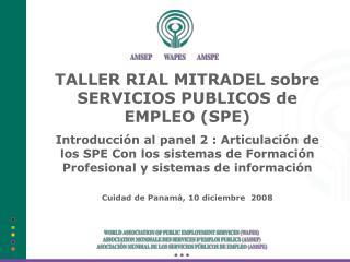 TALLER RIAL MITRADEL sobre SERVICIOS PUBLICOS de EMPLEO (SPE)