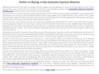 Pointer on Buying a Fully Automatic Espresso Machine