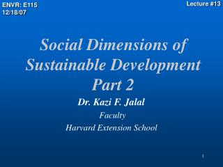Social Dimensions of Sustainable Development  Part 2