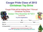 Cougar Pride Class of 2012 Christmas Toy Drive