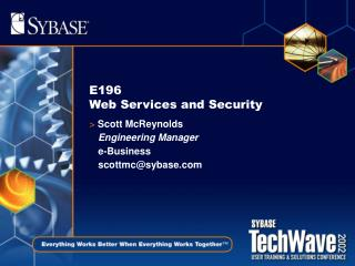 E196  Web Services and Security