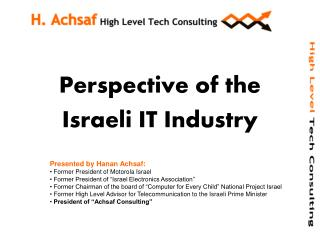 Perspective of the  Israeli IT Industry