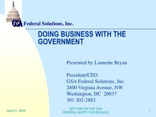 DOING BUSINESS WITH THE GOVERNMENT