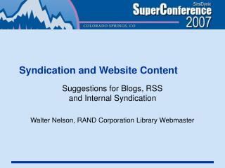 Syndication and Website Content
