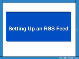 Setting Up an RSS Feed