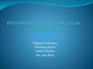 PROGRAMA DE BIENESTAR SOCIAL -  VI TRIMESTRE 2013