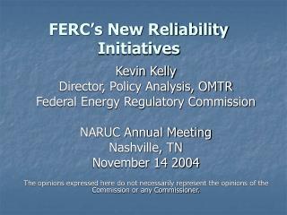 FERC's New Reliability Initiatives