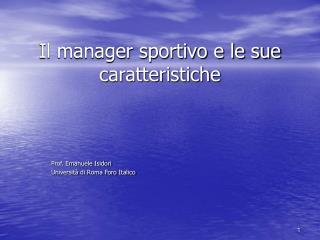 Il manager sportivo e le sue caratteristiche