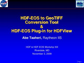 HDF-EOS to GeoTIFF  Conversion Tool  &  HDF-EOS Plug-in for HDFView