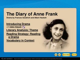 Introducing Drama with Literary Analysis: Theme Reading Strategy: Reading  a Drama