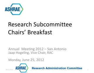 Annual   Meeting 2012 –  San Antonio Jaap Hogeling , Vice Chair, RAC Monday, June 25,  2012