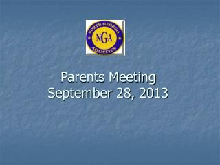 Parents Meeting September 28, 2013