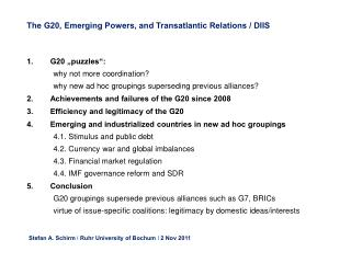 The G20, Emerging Powers, and Transatlantic Relations / DIIS