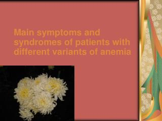 Main symptoms and syndromes of patients with different variants of anemia
