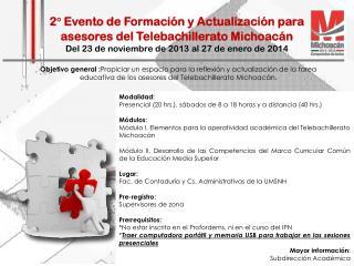 2° Evento de Formación y Actualización para asesores del Telebachillerato Michoacán