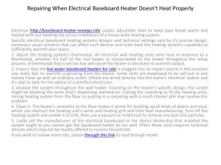 Repairing When Electrical Baseboard Heater