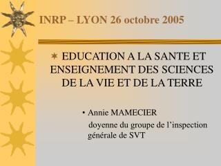 INRP � LYON 26 octobre 2005