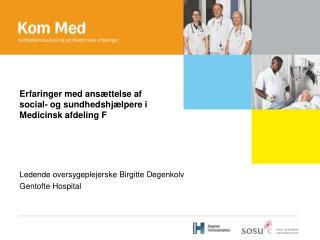 Erfaringer med ansættelse af social- og sundhedshjælpere i Medicinsk afdeling F